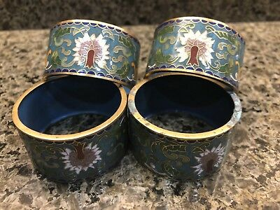 4X Vintage Cloisonne Napkin Ring Holders