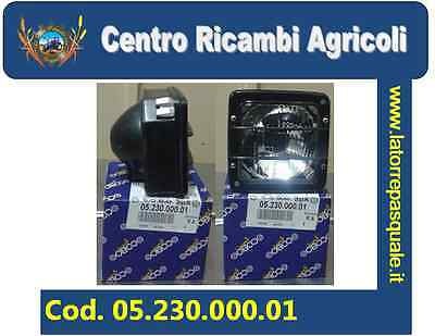 05.230.000.01 Headlight Square With Frame Black 2 Lights For Tractors