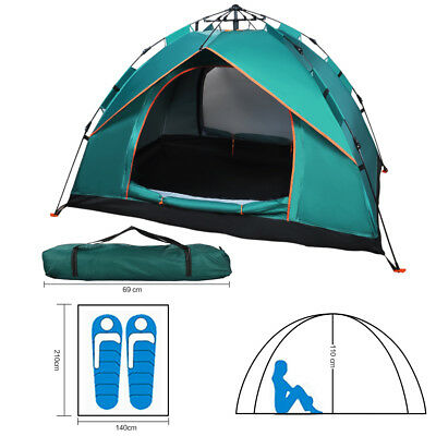 2-3 Person Camping Double Layer Family Hiking Tent Instant Pop Up Travel Shelter