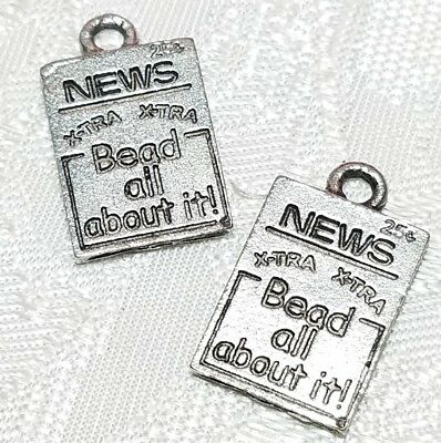 XTRA XTRA BEAD ALL ABOUT IT NEWSPAPER FINE PEWTER PENDANT CHARM 11x17x1mm