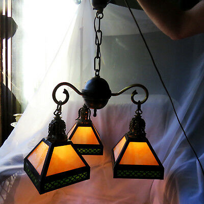 Arts and Crafts Style Antique Brass Fixture with 3 slag shades with two colors