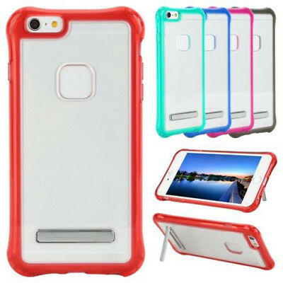 For Apple iPhone 6 6s Plus 7 Shockproof Bumper Clear Hard Case Cover with Stand