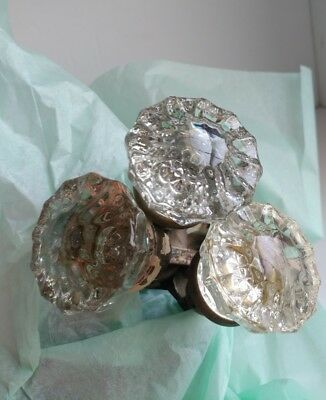 3 pair Vintage 12 Point Crystal Glass Door Knobs Brass Square Threaded Shafts