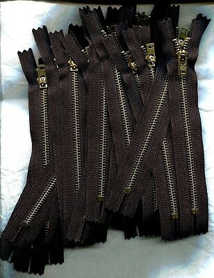 Lot of 20 - 7 inch Black & Brass #5 YKK One Closed End Locking Zippers New!