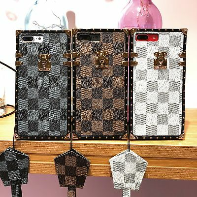 For iPhone XS Max XR Famous Pattern Leather Shockproof Soft TPU Case Cover Strap