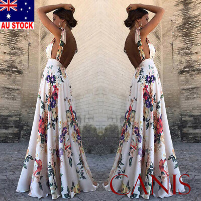 Womens Maxi Boho Floral Summer Beach Long Dress Skirt Evening Cocktail Party AU