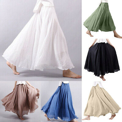 AU Women Summer Linen Pleated Casual Maxi Long Loose Beach Skirt Black Dress