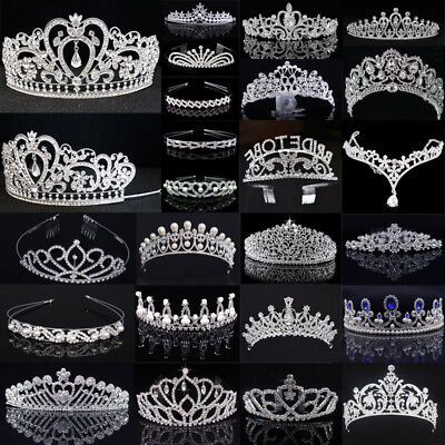 Bridal Tiara Diamante Rhinestone Crown Crystal Pearl Crown Wedding Prom Headband