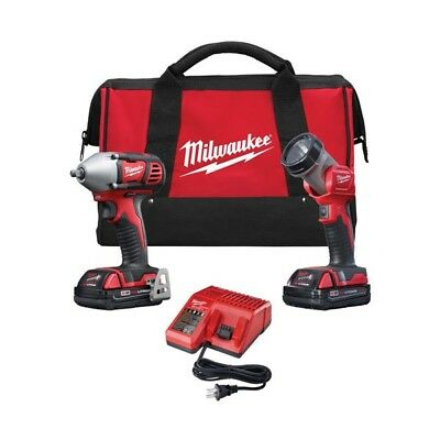 """Milwaukee 2693-22 M18 Volt Cordless 3/8"""" Drive Compact Impact Wrench Combo Kit"""