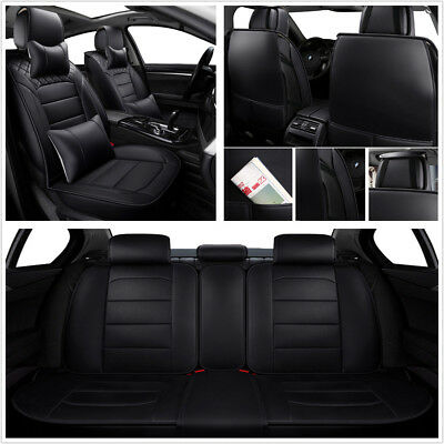 Comfortable Breathable 6MM Foam Black Luxury PU Leather Car Seat Covers Cushion