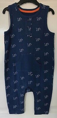 Ex M&S Baby Boys Navy Blue Dog Print Jersey Dungarees Age 3 6 9 Months New