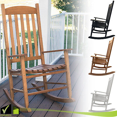 Wood Rocking Chair With Armrest Front Porch Patio Indoor Outdoor Multiple  Colors