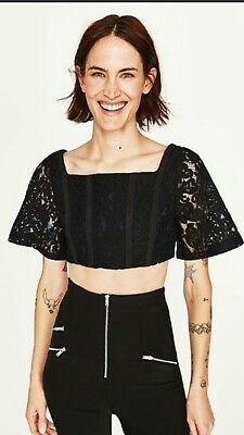 b3d46f07466b0 ZARA GIUPURE LACE Off The Shoulder Crop Top Black Size M -  11.95 ...