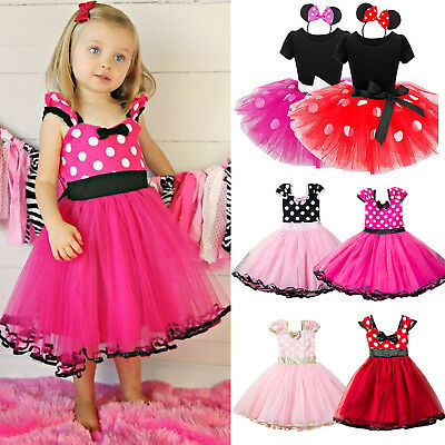 Baby Kids Girls Minnie Mouse Princess Birthday Party Ballet Tutu Dress Size 0-6Y