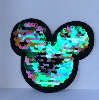 Disney Mickey Mouse Reversible Sequin Embroidered Appliqué Patch Sew / Iron #486