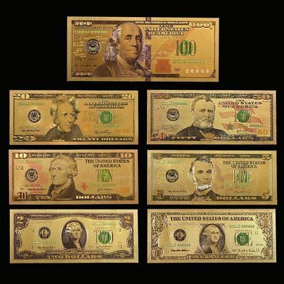 7PCS Gold Dollar Bill Full Set Gold Banknote Colorful USD 1/2/5/10/20/50/100 EC