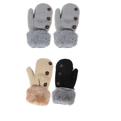 Cute Infant Baby Winter Thicken Warm Full Finger Mittens Knitted Kids Gloves UU