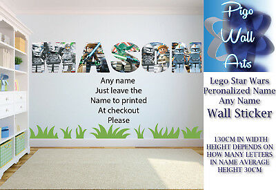 lego wall sticker star wars kids name your name childrens bedroom