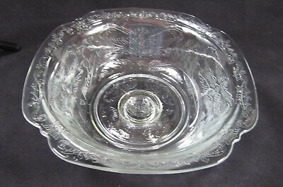 Vintage Etched Depression Clear Gl Pedestal Bowl Raised Pattern 1930 S