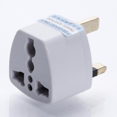 New European 2 Pin to UK 3 Pin Plug Adaptor Euro EU Travel Mains Adapter