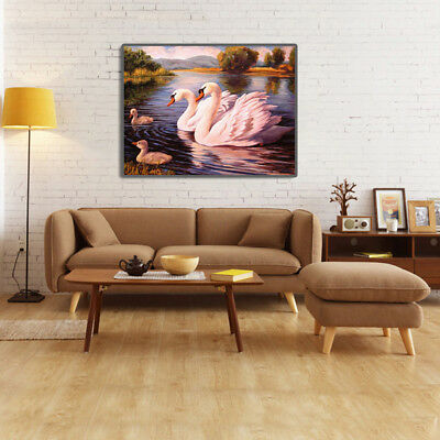Swans Couple Full Drill 5D Diamond Painting Embroidery Cross Stitch Kit Opulent