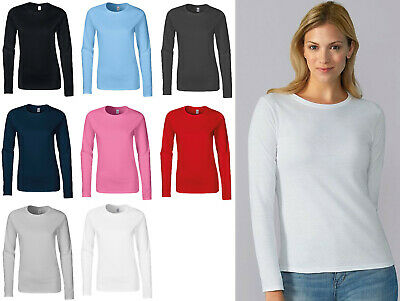 Womens Long Sleeve T-Shirt Gildan Softstyle Women's T-Shirt Top GD076