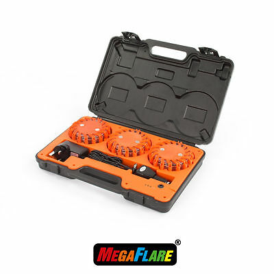 MegaFlare 3-Pack Emergency Recovery Flashing Warning Flare Lights Beacon Red