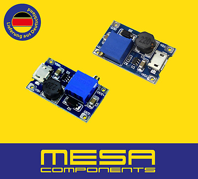 Step Up DC-DC Einstelbar Adjustable 2A Micro USB 5V 9V 12V 24V auf 2V-24V MT3608