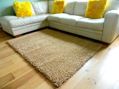Small Large Plain Beige Biscuit Thick Soft Bedroom Shaggy Rug Living Room Rug