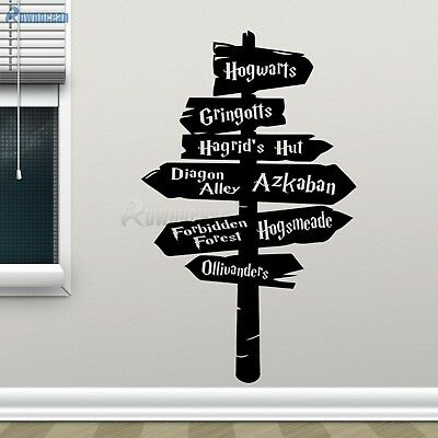 Harry Potter Wall Decal Hogwarts Road Sign Vinyl Sticker Home Movie Decor Remove