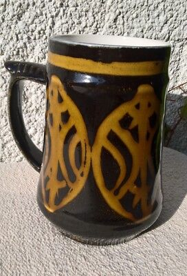 Large vintage Japanese slipware decorated ceramic tankard 1960s 1970s