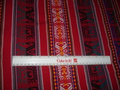 Vtg 70s Red Wool Woven Ribbon Stripe Inca Design Fabric Sewing 44x44 Nice me298