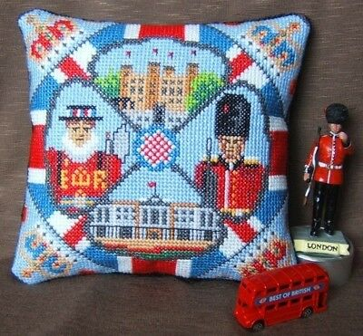 A Mini Tour of London Mini Cushion Cross Stitch Kit, Sheena Rogers Designs
