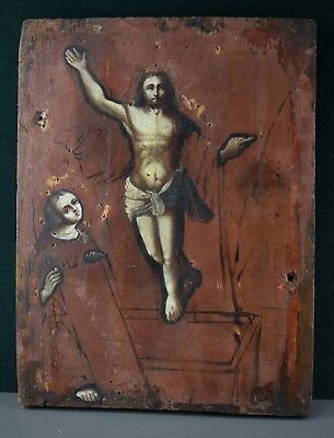 Antique Icon Resurrection of Christ Orthodox Russian Empire Oil Wood 280x210mm