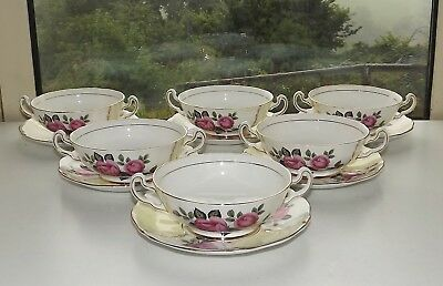 Imperial Fine Bone China England Pink Roses 6 x Soup Bowls / Coupes & Stands