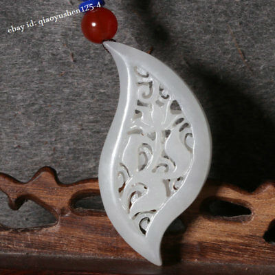 52MM Fine Chinese Hetian White Jade Hand Carving Hollow Out Flower Pendant  花开富贵