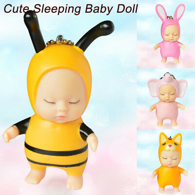 Cute Sleeping Baby Doll Rubber Pendant Keychain Keyring Baby Best Toy Present