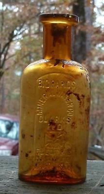 MICHIGAN MINERAL WATER BOTTLE-Clarks Red Cross Electric Medicinal- Honey Amber