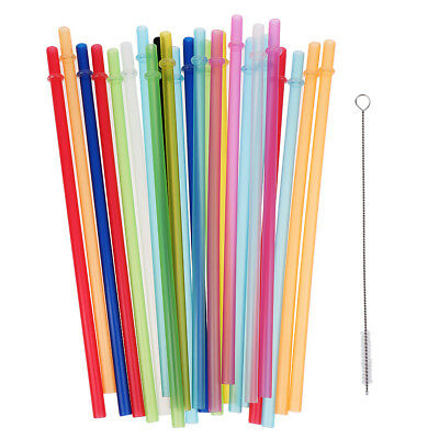 10/25/50pcs Hard Plastic Straws Bar Straws with Cleaning Brush Party Accessories