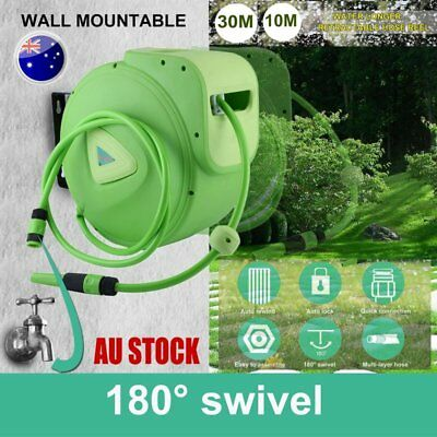 10m 30m Retractable Auto Rewind Water Hose Reel Garden Wall Mount Quick A1