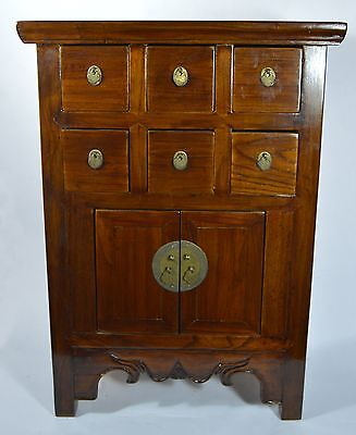 """Antique Asian Chinese 24""""H  Elm Wood Apothecary Cabinet Drawers Home Decoration"""