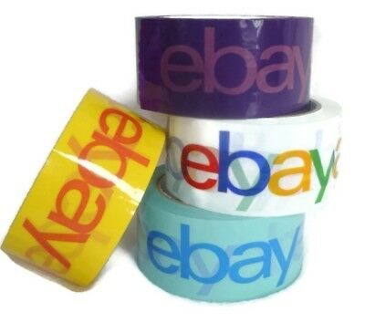 4 Rolls eBay Branded Packaging Tape Logo Shipping Purple Yellow Blue White 75yds