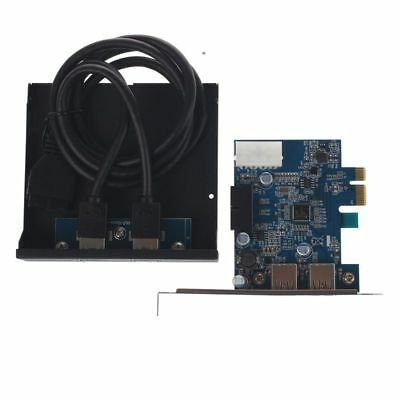 PCI Express PCI-E Karte 2 Port Hub Adapter + USB 3.0 Front Panel 5Gbps Hipeed DQ