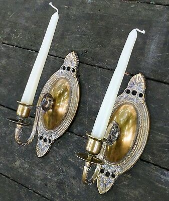 Vintage Shabby Chic Brass Wall Candle Sconces French Country Oval Brass White 9""