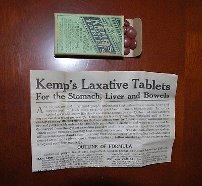 Antique Pharmacy Medicine Kemp's Laxative Tablets