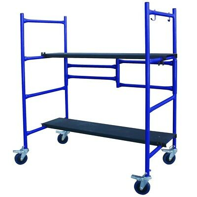 Blue Scaffold Mini Adjustable Roll And Fold Steel Deck Boards Compact Safety New