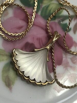 """Vintage Signed Frosted Glass Shell Park Lane Pendant Necklace With 18"""" Chain"""