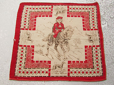 "Vintage / Antique Turkey Red Hankie ""Child Riding Pony"" Late 19th Century"