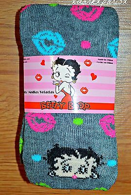 NEW NIP Girl BETTY BOOP Grey Heavyweight Sweater Knit Tights SZ4-6