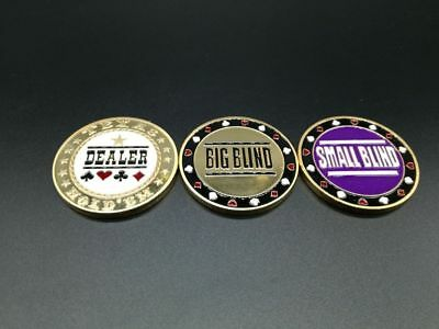 Set of 3 Metal Chip Poker Buttons - Small Blind, Big Blind and Dealer NEW USA